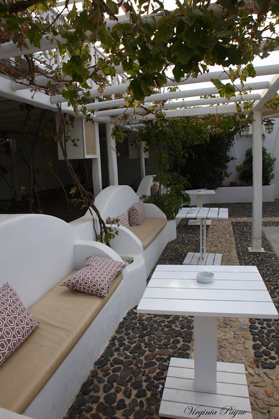 The outdoor terrace of the taverna.