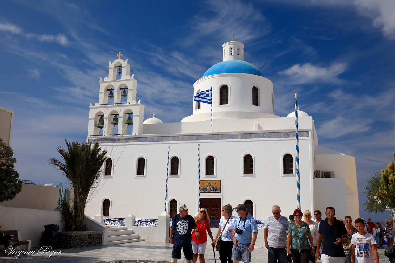 Church with a blue dome (with the blue color symbolizing heaven)