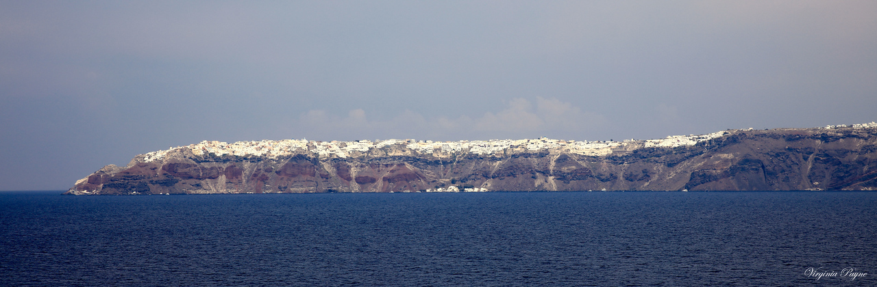 The northern tip of the island of Santorini (seen from our ship).