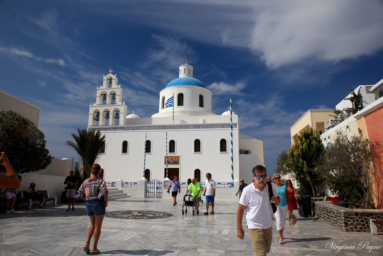 The small town of Oia - the north west edge of Santorini.