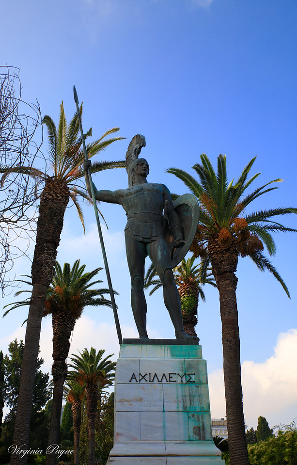 Achilles as guardian of the palace - he gazes northward, toward the city. The inscription in Greek reads: ΑΧΙΛΛΕΥΣ i.e. Achilles.