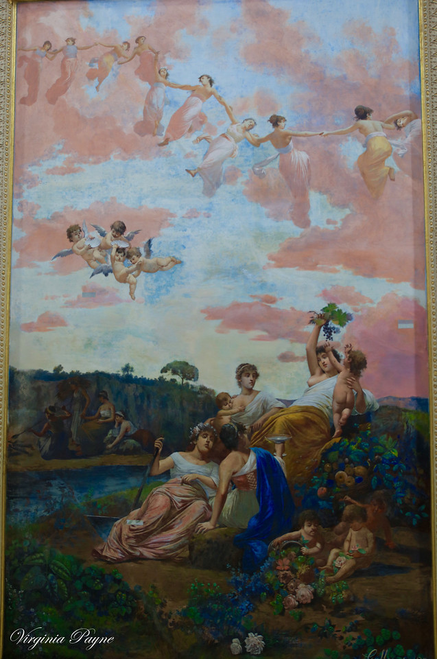 """The Four Seasons"" fresco - Painting at the ceiling of the main entrance of the Achilleion, created by Italian painter Vincenzo Galloppi."
