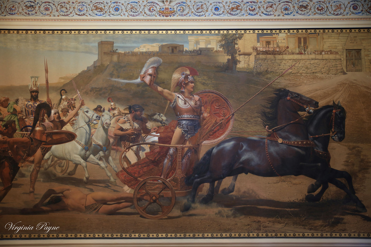 """The Triumph of Achilles"" by Franz von Matsch. Achilles is seen dragging Hector's lifeless body in front of the Gates of Troy."