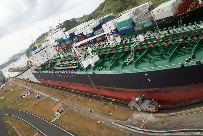 PanaMax freighter.  Look how little room there is between the hull of the ship and the side of the canal.
