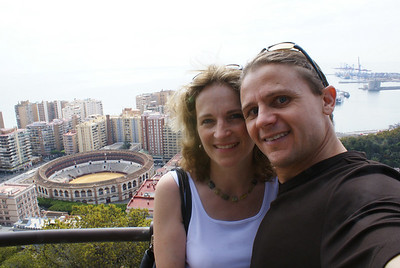 We hiked up to Gibralfaro Castle and had a view of Malaga.  The stadium to the left is for bull fighting.
