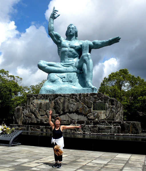 Nagasaki, Japan - Beverly with the Peace Statue