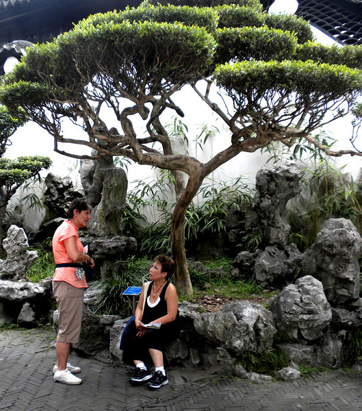 Shanghai, China - inside Yu Garden, Beverly and friend Connie Rose