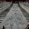 "Beijing, China - This carving of one whole piece of rock is part of the ""Dragon Vein"" that traverses the length of the Forbidden City.  See diagram lright of this photo showing the ""Dragon Vein."""