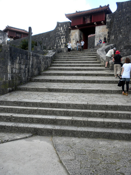 Okinawa, Japan - steps leading up to the entrance of Shuri Castle
