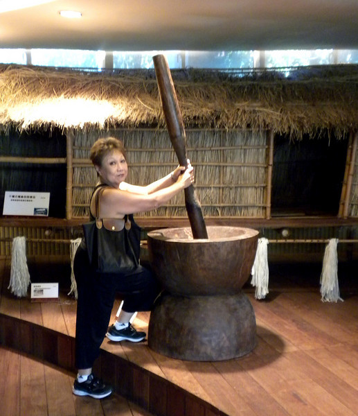 Keelung, Taiwan - Beverly with a hands-on display inside the Indigenous Peoples Cultural Center