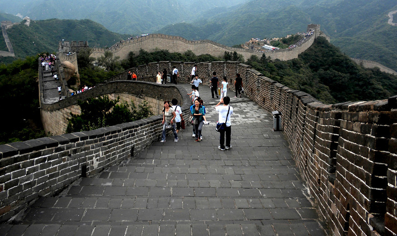 Beijing, China - tourists walking the Great Wall