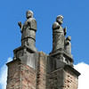 Nagasaki, Japan - statues representing Jesus and two disciples on top of the remaining structure of Urakami Cathedral