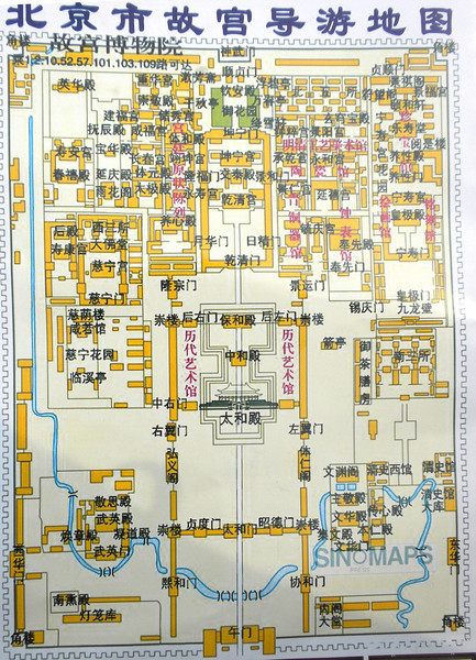 """Beijing, China - diagram of the Forbidden City.  Line in center traversing the entire length of the city is the """"Dragon Vein"""" (龍胍)."""