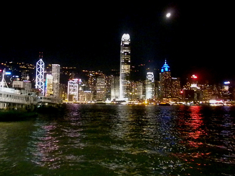 Hong Kong, China - night view of Hong Kong Island from the Kowloon side