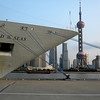 Shanghai, china - the bow of our ship, Legend of the Seas, with Pudong as backdrop