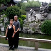 Shanghai, China - inside Yu Garden, Peter and Beverly in front of Peter's favorite Tai Lake rock