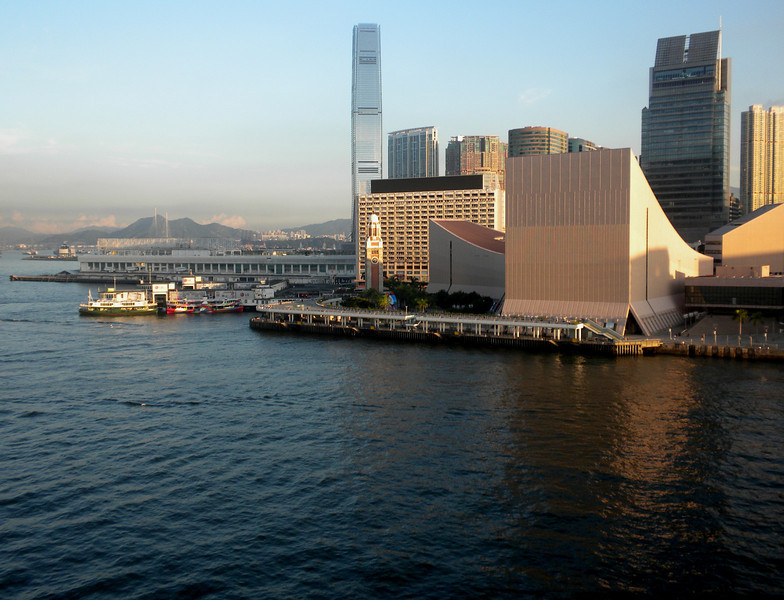 Hong Kong, China - Tsim Sha Tsui water front, showing the Hong Kong Cultural Center on the right and Ocean Terminal on the left (where our cruise ship, Legend of the Seas, was to dock at).