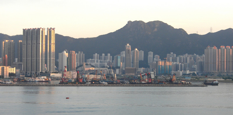 Hong Kong, China - early morning scene of the Kowloon water front