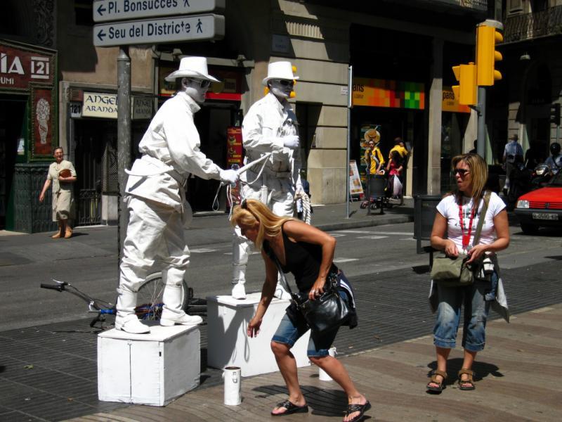 Human Statue Art. Barcelona, Spain.
