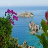 Flowers over the sea. Corfu.