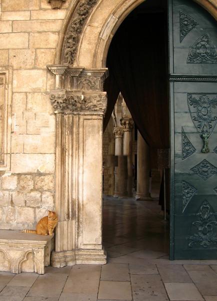 Cat Guards Church Door (61580732)