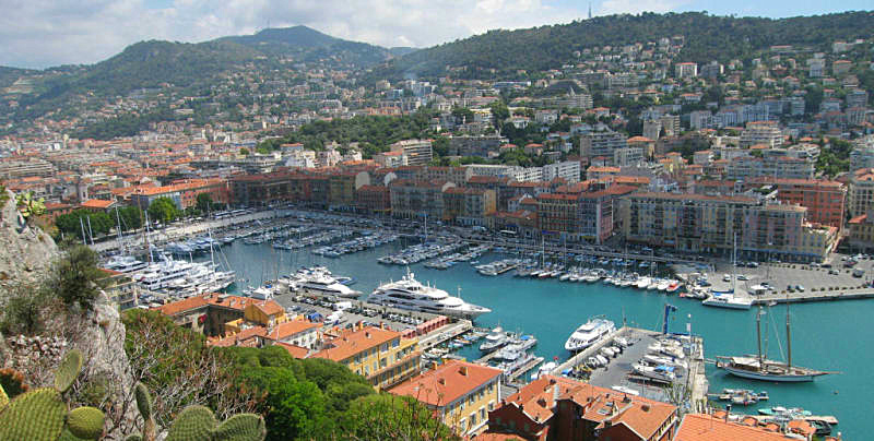 yacht harbor in the older part of Nice, quite a distance from the Mediterranean beaches