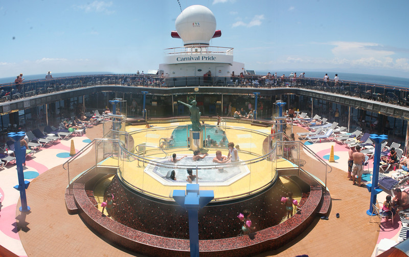 Panorama of one of the pools on Carnival Pride