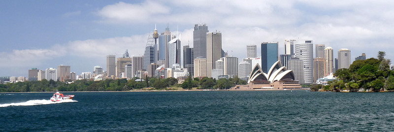 Sydney, Australia<br /> Skyline from harbor boat