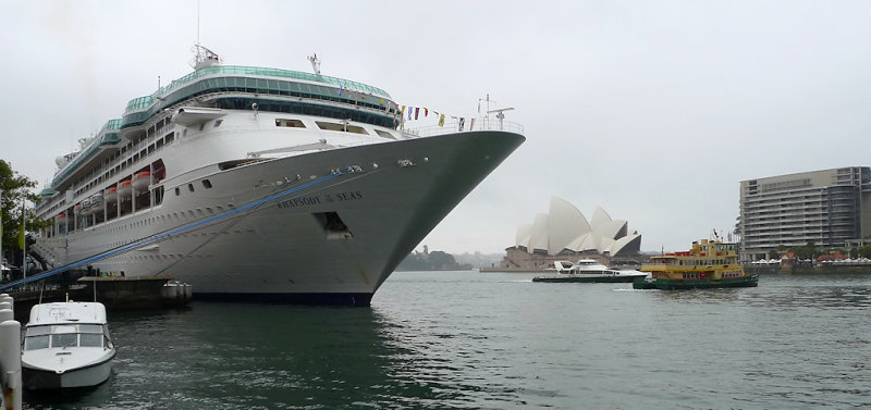 Sydney, Australia<br /> Rhapsody of the Seas parked in downtown Sydney