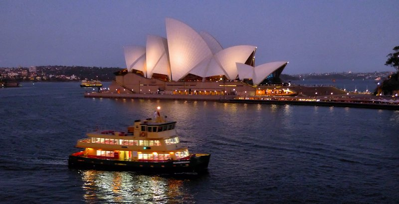 View from our ship ferryboat to the opera house Sydney, Australia