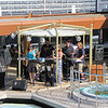 The band striking it up poolside...