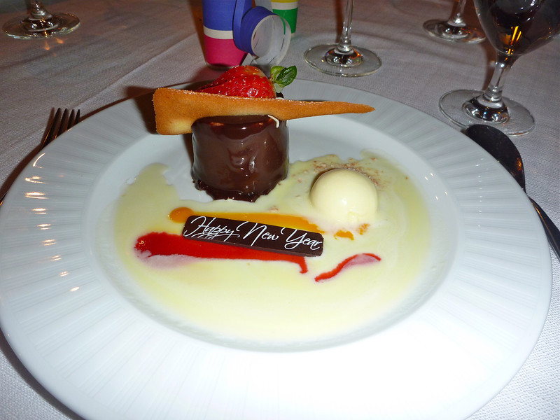 A delicious New Year's Eve dessert on Silver Cloud. Read more about what it's like to celebrate New Year's Eve on a cruise ship. It's a fun travel experience for sure!