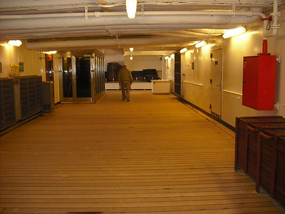 Harvey walking on the Promenade Deck (our cabin was on this deck on the aft end.