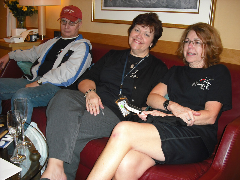 "J.R., Janet, and Marilyn enjoying our first ""snick"" in our cabin"