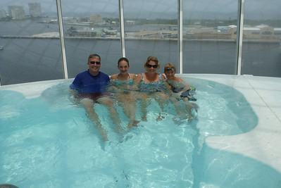 Hot tub suspended over side of ship!