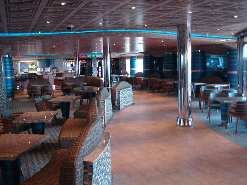 Promenade Deck 5. Ship has many places like this to sit and relax. While carrying a large passenger load, there is plenty of space to get away from more crowded areas.