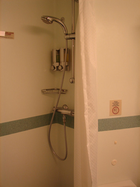 Small, but functional shower, with soap and shampoo dispensers mounted to wall.