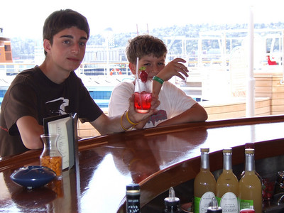 Noel and Henry  My brother and my son belly up to the bar on the ms Oosterdam