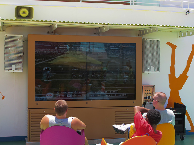 XBOX on 4 linked HDTVs and broadcasted on the deck. The kids loved it.<br /> Saints vs. Houston!