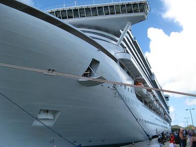 "The ""Emerald Princess"" docked in Antigua, Caribbean."