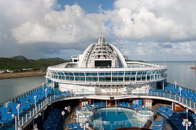 The Emerald Princess docked in Antigua, Caribbean