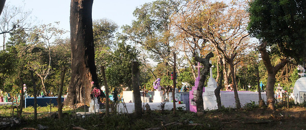 Cemetery between Puerto Quetzal and Antigua, Guatemala (Shot through the window of a moving bus.)