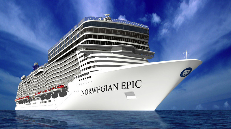Rendering of NORWEGIAN EPIC's starboard, bow view.