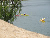 Kayakers from our boat explore the castille from the lake.