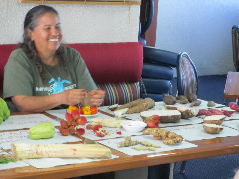 Luz teaching about native vegetables.