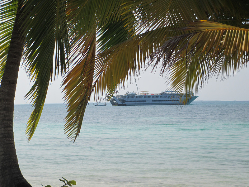 The Grande Mariner anchored off shore. We carried a shuttle vessel, a glass-bottomed boat, and kayaks, so there were many ways to explore the Belize and Guatemalan waterways. Every interest and skill level was able to enjoy the daily activities off-boat.