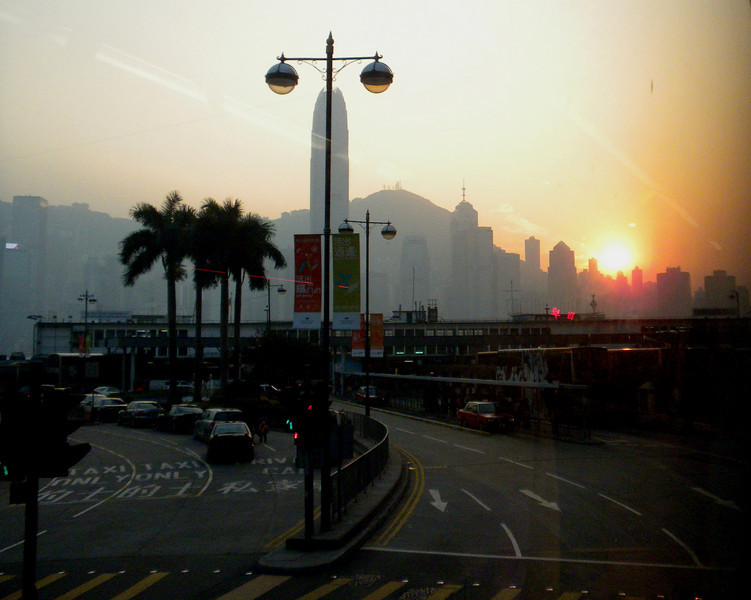 Hong Kong, China - Sunset scene from our hotel, YMCA of Tsim Sha Tsui (尖沙咀).