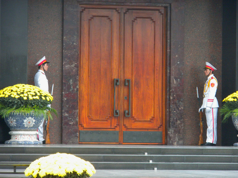 Hanoi, Vietnam - guards outside the entrance into Ho Chih Minh Memorial