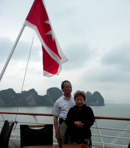 "Halong Bay (""Descended Dragon Bay,""  下龍灣), Vietnam - Peter and Beverly on the cruise ship Azamara Quest"