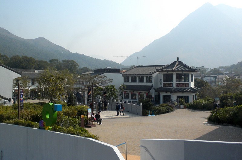 Hong Kong, China - Ngong Ping Village, at the mountain end of the cable car ride